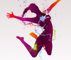 Colorful pint with dancers vector material 07