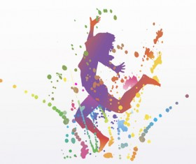 Colorful pint with dancers vector material 08