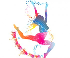 Colorful pint with dancers vector material 09