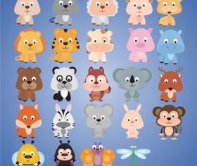Cute cartoon animal set vector 01