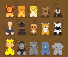 Cute cartoon animal set vector 02