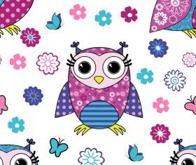 Cute cartoon owls vector seamless pattern 01