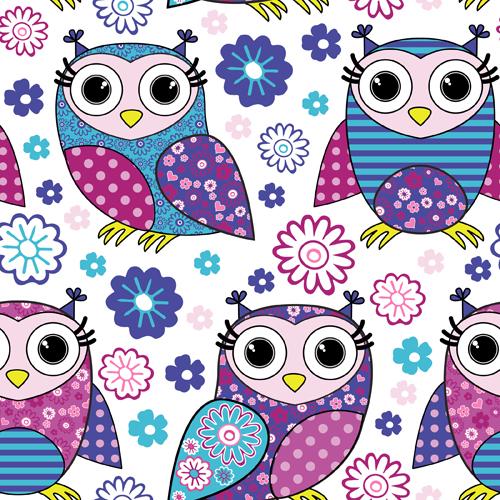 Cute cartoon owls vector seamless pattern 02