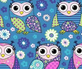 Cute cartoon owls vector seamless pattern 03