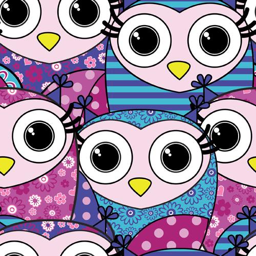 Cute cartoon owls vector seamless pattern 04