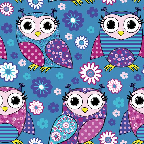 Cute cartoon owls vector seamless pattern 05