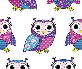 Cute cartoon owls vector seamless pattern 06