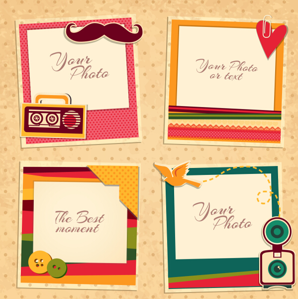 cute photo frame vector set 05 free download
