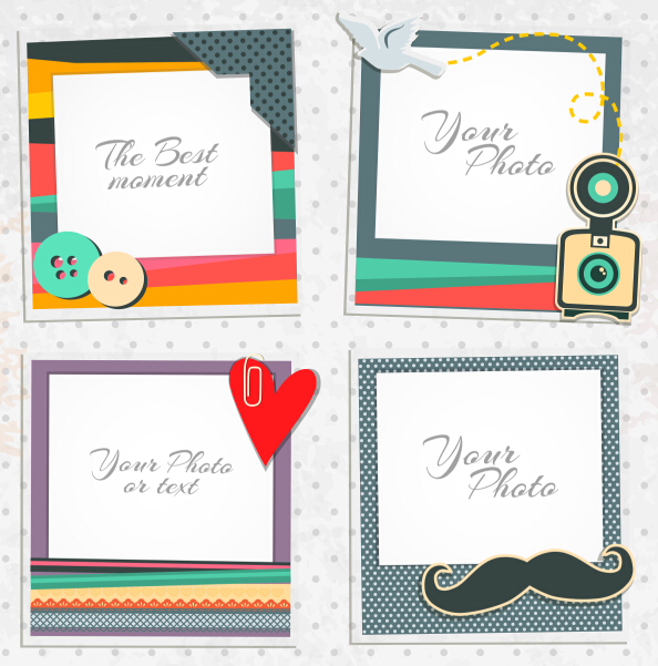 Cute photo frame vector set 06 free download