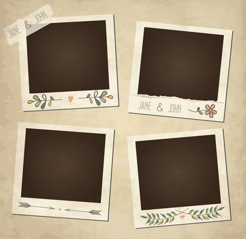 Cute photo frame vector set 08 free download