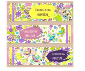 Doodle birds with flower banners vector 03
