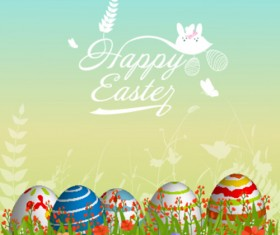 Easter egg with green grass background vector