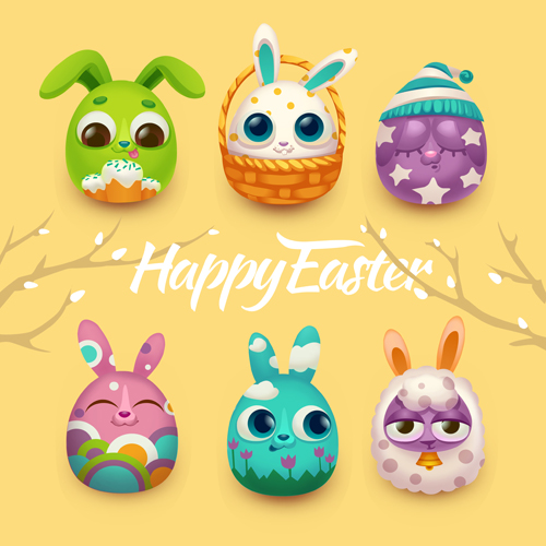 Easter rabbit cards vector material 01