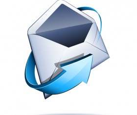 Email with blue arrow vector 01