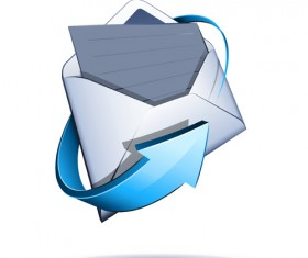 Email with blue arrow vector 02