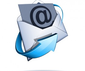 Email with blue arrow vector 03