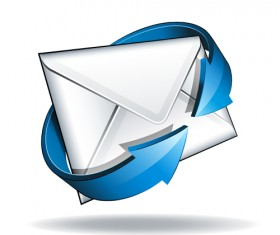 Email with blue arrow vector 04
