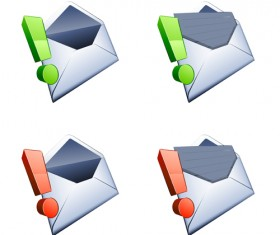 Exclamation point with email vector