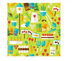Flat nature gardening and environment seamless pattern vector 04