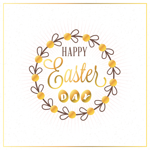 Floral frame with happy easter background vector 02