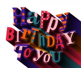 Floral happy birthday text design vector 02