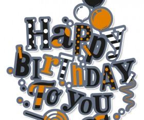 Floral happy birthday text design vector 03