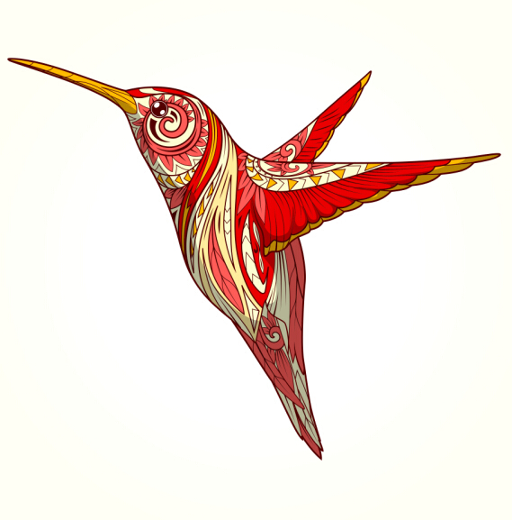 floral pattern hummingbird vector 02