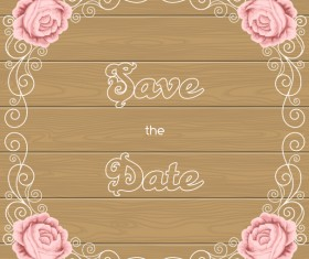 Flower wedding invitation with background wooden vector
