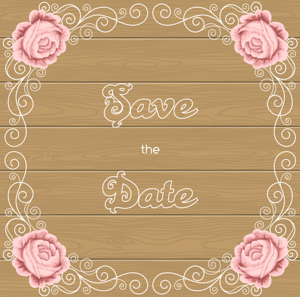 flower wedding invitation with background wooden vector - Wedding Invitation Background