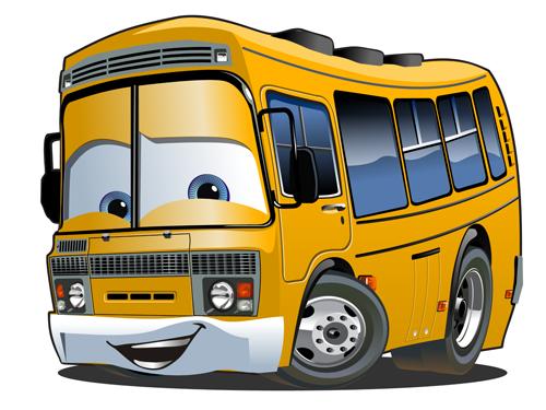 Funny cartoon bus vector set 07