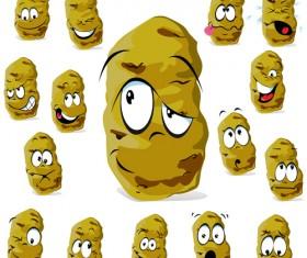 Funny potato face icons set