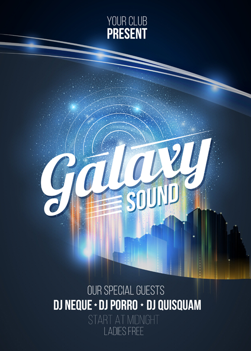 Galaxy sound party flyer design vector 03 - Vector Other free download