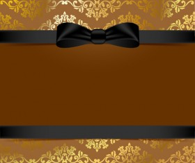 Golden background with black bow vector 01