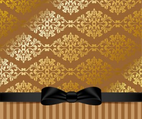 Golden background with black bow vector 02