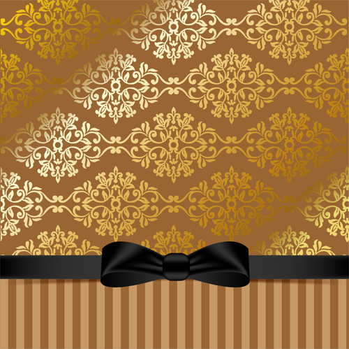 Golden Background With Black Bow Vector 02 Vector