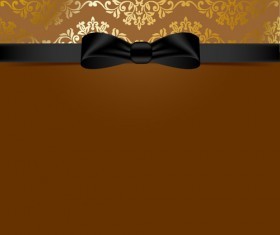 Golden background with black bow vector 03