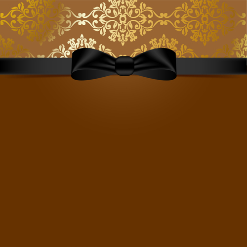 Golden Background With Black Bow Vector 03 Vector