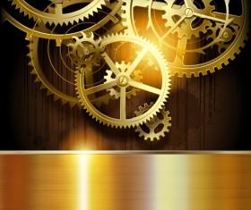 Golden gear wheels with metal vector