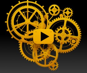 Golden gear wheels with player button vector