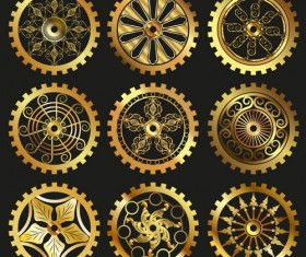 Golden gears icons vector set 01
