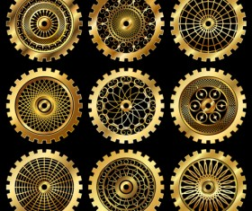 Golden gears icons vector set 02