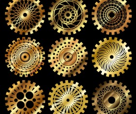 Golden gears icons vector set 03