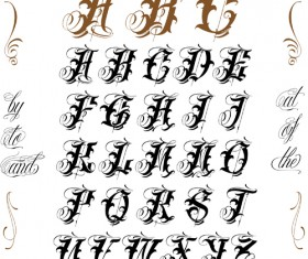 Gothic styles letters vector set