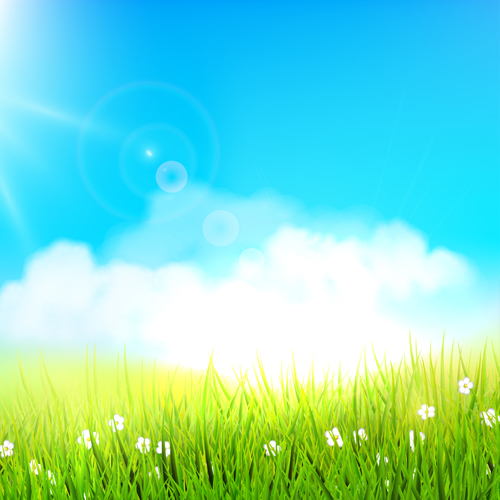 Grass with blue sky spring vectors 03 - Vector Background ...