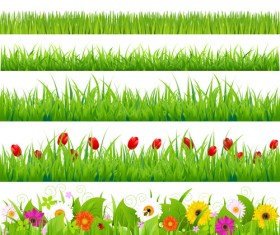 Grass with flower borders vector 01