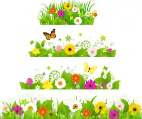 Grass with flower borders vector 02