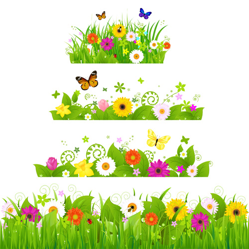 214672 Grass With Flower Borders Vector 02 on Spring Daffodil Craft