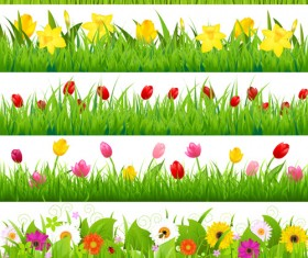 Grass with flower borders vector 03