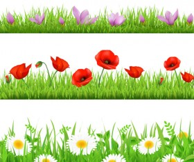 Grass with flower borders vector 04