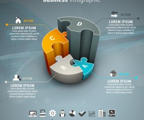 Gray business infographics template vector 01